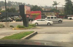 Carls Jr fast food driveway leading to Hawthorne Blvd in Torrance, CA